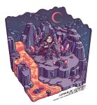 1boy armor bare_tree black_hair blush boots chibi cliff crystal english_text frown gem holding holding_weapon isometric league_of_legends long_hair male_focus molten_rock moon night outdoors pauldrons sanatorium_industries shoulder_armor sky solo sparkle standing star_(sky) taric tree weapon