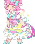 1girl :3 blue_bow bow bowtie dress earrings hair_bow heart idol jewelry kiracchu_(pri_chan) kiratto_pri_chan looking_at_viewer open_mouth pink_dress pink_hair pretty_(series) short_sleeves simple_background solo star_(symbol) star_earrings star_print umi_no_tarako white_background wings wrist_cuffs yellow_eyes