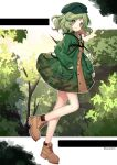 1girl bangs boots border brown_footwear bush camouflage camouflage_jacket closed_mouth cross-laced_footwear flat_cap forest from_side full_body green_eyes green_hair green_headwear green_jacket hat highres jacket key kyouda_suzuka long_sleeves looking_at_viewer nature outdoors pocket short_hair smile solo standing standing_on_one_leg touhou tree twitter_username white_border yamashiro_takane