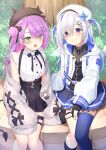 2girls absurdres amane_kanata asymmetrical_legwear bangs belt beret bibi_(tokoyami_towa) black_belt black_gloves black_headwear black_legwear black_ribbon black_shirt black_skirt blue_hair blue_legwear blue_skirt blush breasts bush cardigan chiyonekoko closed_mouth colored_inner_hair commentary cowboy_shot demon_tail eyebrows_visible_through_hair eyes_visible_through_hair fang fingerless_gloves flat_chest gloves green_eyes grey_cardigan hair_between_eyes hair_bun hair_ornament hairclip hat hat_pin heart_ring highres hololive hood hooded_jacket horned_headwear jacket jewelry kneehighs long_hair long_sleeves looking_at_viewer medium_breasts miniskirt mismatched_legwear multicolored_hair multiple_girls neck_ribbon necklace o-ring o-ring_legwear off_shoulder official_alternate_costume open_cardigan open_clothes open_jacket open_mouth parted_bangs piercing pink_hair pleated_skirt pom_pom_(clothes) purple_hair ribbon shirt short_twintails silver_hair single_kneehigh single_thighhigh sitting skirt sleeveless sleeveless_shirt smile star_(symbol) star_necklace tail tail_ornament tail_piercing thigh-highs thigh_strap thighs tokoyami_towa tree turtleneck twintails two-tone_hair two_side_up violet_eyes virtual_youtuber white_headwear white_jacket white_shirt