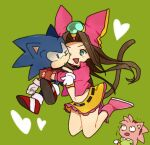 1boy 2girls amy_rose animal_ears belt black_choker blue_fur blue_hair blush body_fur brown_gloves brown_hair bukiko cat_girl cat_tail cheek-to-cheek choker closed_mouth constricted_pupils crop_top cropped_jacket emerald_(gemstone) eye_contact frilled_skirt frills furry gem gloves green_background green_eyes green_shirt hair_intakes hairband happy heart hug hug_from_behind jacket jumping light_blush long_hair long_sleeves looking_at_another midriff miniskirt multiple_girls navel one_eye_closed open_clothes open_jacket open_mouth pink_footwear pink_fur pink_hair pink_headwear pink_jacket red_footwear red_hairband sara_(sonic) shiny shiny_hair shirt shoes short_sleeves simple_background skirt smile socks sonic_(series) sonic_the_hedgehog sonic_the_hedgehog:_the_movie sonic_the_hedgehog_(classic) stomach tail third-party_edit trembling two-tone_fur white_legwear yellow_fur yellow_shirt yellow_skirt