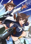 2girls :d animal_ear_fluff animal_ears ass_visible_through_thighs bangs blue_neckwear blue_sailor_collar blue_shirt blue_swimsuit brave_witches brown_eyes brown_hair clouds collarbone condensation_trail crotch drum_magazine eyebrows_visible_through_hair hair_ornament hairclip highres holding holding_weapon karibuchi_hikari long_sleeves looking_at_viewer magazine_(weapon) miyafuji_yoshika multiple_girls open_mouth outstretched_arm sailor_collar school_swimsuit school_uniform serafuku shirt short_hair sky smile strike_witches striker_unit swimsuit swimwear tail thighs tricky_46 type_99_cannon weapon white_neckwear white_shirt world_witches_series