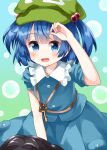 1girl :d bangs blue_eyes blue_hair blue_shirt blue_skirt commentary_request eyebrows_visible_through_hair frilled_shirt_collar frills green_headwear hair_bobbles hair_ornament hat highres kawashiro_nitori key looking_at_viewer open_mouth pouch ruu_(tksymkw) shirt skirt skirt_set sleeves_rolled_up smile solo touhou two_side_up
