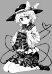 1girl absurdres bangs bow bright_pupils chups closed_mouth eyebrows_visible_through_hair floral_print frilled_skirt frilled_sleeves frills full_body grey_background hat hat_bow heart heart_of_string high_contrast highres komeiji_koishi long_sleeves looking_at_viewer monochrome rose_print seiza shirt shoes short_hair simple_background sitting skirt socks solo third_eye touhou wide_sleeves