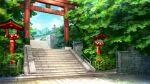 brick_wall day fence no_humans o_(rakkasei) original outdoors railing scenery stairs stone_stairs torii tree