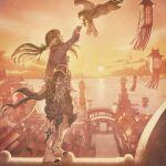 1girl arm_up bird boots city final_fantasy final_fantasy_xiv hawk highres horns kuroimori official_art scarf second-party_source square_enix sunset yugiri_mistwalker