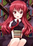 1girl bangs bat_wings black_skirt black_vest book book_stack bookshelf commentary_request eyebrows_visible_through_hair fang hair_between_eyes head_wings highres holding holding_book indoors koakuma library long_hair looking_at_viewer necktie open_mouth puffy_short_sleeves puffy_sleeves red_neckwear redhead ruu_(tksymkw) shirt short_sleeves skirt solo touhou vest white_shirt wings