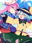 2girls ^_^ aqua_shirt bangs black_headwear blue_bow blue_neckwear blue_sky bow bowtie bright_pupils closed_eyes clouds cowboy_shot cross eyebrows_visible_through_hair fox_mask green_eyes green_hair green_skirt hair_between_eyes hat hat_ribbon hata_no_kokoro heart heart_of_string highres komeiji_koishi long_hair mask mask_on_head multiple_girls open_mouth outdoors pink_eyes pink_hair pink_skirt plaid plaid_shirt ribbon shirt short_hair skirt sky smile standing third_eye touhou white_pupils yellow_ribbon yellow_shirt you_(noanoamoemoe)