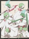 absurdres colored_skin commentary_request eye_contact gallade gardevoir gen_3_pokemon gen_4_pokemon highres kirlia looking_at_another mega_gallade mega_gardevoir mega_pokemon outstretched_arms pokemon pokemon_(creature) ralts red_eyes shabana_may standing stone white_skin