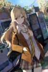 1girl bag blazer blonde_hair blurry blurry_background brown_jacket building character_request closed_mouth collarbone collared_shirt commentary_request cowboy_shot day dress_shirt dutch_angle earrings frown genjitsu_de_lovecome_dekinaito_dare_ga_kimeta hands_in_pockets highres jacket jewelry long_hair long_sleeves looking_at_viewer necklace necktie open_collar outdoors plaid plaid_skirt pleated_skirt power_lines school_bag school_uniform shiina_kuro shirt shoulder_bag skirt solo standing striped striped_neckwear stud_earrings tree untucked_shirt vending_machine violet_eyes white_shirt yellow_neckwear