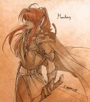 1boy animal_on_shoulder armband armor belt breastplate cape cat cat_on_shoulder character_name closed_mouth dated floating_cape floating_hair from_side holding holding_sword holding_weapon kazuki-mendou limited_palette looking_at_viewer looking_to_the_side maedhros male_focus one-hour_drawing_challenge pointy_ears ponytail red_eyes redhead signature silmarillion solo sword weapon