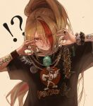 !? 1girl alternate_costume badge bandaid blonde_hair button_badge chain_necklace drive-in_tori green_hair grin highres ink. jewelry looking_at_viewer multicolored_hair necklace nikaidou_saki orange_eyes orange_hair ponytail romero_(zombie_land_saga) shirt simple_background smile solo streaked_hair t-shirt tamagotchi wristband zombie_land_saga