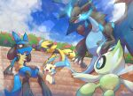 :d blue_fire bush celebi charizard claws closed_eyes clouds day fang fire gen_1_pokemon gen_2_pokemon gen_3_pokemon gen_4_pokemon gen_7_pokemon highres lucario lying mega_charizard_x mega_pokemon minun mythical_pokemon nullma on_stomach open_mouth outdoors pokemon pokemon_(creature) red_eyes sitting sky smile stairs standing sweat toes tongue zeraora