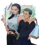 1boy 1girl 4myaku1 alternate_costume arm_around_waist bag black_hair blue_eyes braid braided_ponytail breasts casual collarbone contemporary couple cowboy_shot earrings eyewear_on_head green_hair hair_slicked_back hand_on_sheath hand_up height_difference hetero highres holding index_finger_raised jewelry long_hair long_sleeves looking_afar looking_at_another nico_robin one_eye_closed one_piece pants ribbed_sweater roronoa_zoro scar scar_across_eye shirt shopping_bag short_hair sideboob single_braid sleeveless sleeveless_sweater sleeveless_turtleneck smile sunglasses sweater sword tall_female turtleneck weapon