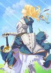 1girl absurdres armor armored_dress artoria_pendragon_(all) blonde_hair blue_sky braid breastplate clouds dress fate/stay_night fate_(series) from_side gauntlets gloves grass green_eyes hair_between_eyes highres juliet_sleeves long_hair long_sleeves looking_up outdoors parted_lips planted_sword planted_weapon puffy_sleeves ribbon saber sky solo sword takakiyo weapon