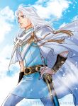 1boy belt black_belt blue_sky cape day floating_hair hand_on_hip holding holding_sword holding_weapon kazuki-mendou male_focus nibelungenlied outdoors pants parted_lips scabbard sheath sheathed siegfried_(nibelungenlied) sky solo sword tunic violet_eyes weapon white_cape white_hair