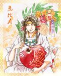 1other black_hair closed_mouth eyeshadow hair_ribbon holding kazuki-mendou leaf makeup original red_ribbon ribbon sitting smile traditional_media