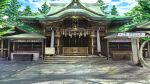 architecture building day east_asian_architecture no_humans o_(rakkasei) original outdoors rope scenery shide shimenawa shrine translation_request tree