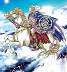 1boy above_clouds blue_cape blue_sky boots cape dated flying helmet holding holding_sword holding_weapon horse horseback_riding kazuki-mendou lightning male_focus nibelungenlied outdoors parted_lips riding scabbard sheath sheathed siegfried_(nibelungenlied) sky solo sword weapon winged_helmet