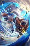2boys bangs black_hair blue_hair blurry blurry_foreground border0715 brown_hair chinese_clothes closed_mouth clouds cloudy_sky commentary_request earrings falling falling_rock fighting fingernails fur fur_trim genshin_impact hair_between_eyes hanfu highres holding holding_polearm holding_spear holding_weapon humanization jacket jewelry long_hair long_sleeves male_focus monster multicolored_hair multiple_boys open_clothes osial_(genshin_impact) pectorals polearm rain rock signature single_earring sky smile spear tag tassel tassel_earrings water weapon yellow_eyes zhongli_(genshin_impact)