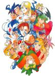 1990s_(style) 6+girls animal_ears anita_(vampire) arrow_(projectile) bangs bat_wings bengus beret blonde_hair blue_eyes blue_hair blue_skin bracelet brown_eyes brown_hair bun_cover cammy_white capcom cat_ears child chun-li circlet clenched_hand closed_eyes colored_skin cyberbots devilot_de_deathsatan_ix double_bun earrings eyebrows_visible_through_hair fangs felicia_(vampire) fingerless_gloves gloves goggles goggles_on_headwear green_hair grin hat head_wings highres jewelry jiangshi lei_lei long_hair mao_(cyberbots) mary_miyabi morrigan_aensland multiple_girls official_art ofuda open_mouth orange_hair outstretched_arm pink_hair pointy_ears quiver red_gloves redhead retro_artstyle rose_(street_fighter) scan short_hair smile spiked_bracelet spikes street_fighter tiara vampire_(game) waving wings