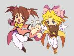2girls arms_up bangs blonde_hair blue_eyes blue_vest boots bow bowtie brown_eyes brown_footwear bukiko buttons character_request coat commentary_request copyright_request covered_mouth flat_chest full_body grey_background hair_bow hair_intakes hair_ornament hair_scrunchie happy hat jumping knees_together_feet_apart long_sleeves looking_to_the_side medium_hair multiple_girls object_hug open_mouth outstretched_arms pants paw_print pink_bow pink_coat pink_headwear pink_scrunchie scrunchie short_hair sidelocks simple_background smile smoke standing star_(symbol) stuffed_animal stuffed_toy tailcoat teddy_bear tied_hair top_hat twintails vest white_pants yellow_coat yellow_footwear yellow_neckwear yellow_vest