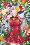 1girl animal_ears armband barham brand_name_imitation card carrot dress eyebrows_visible_through_hair gloves gold_ship_(umamusume) hat holding holding_toy horse_ears long_hair looking_at_viewer lying mahjong mahjong_tile on_back one_eye_covered outstretched_arm playing_card red_dress red_eyes red_neckwear rubik's_cube sleeveless sleeveless_dress smile solo top_hat toy umamusume uno_(game) waistpack white_gloves white_hair