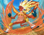 clouds commentary_request day fire fure_(flelele66) gen_4_pokemon infernape legs_apart open_mouth outdoors pokemon sky stadium standing toes tongue upper_teeth white_fur