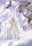 1boy bird closed_mouth crown eagle flying holding holding_staff kazuki-mendou long_sleeves looking_at_viewer male_focus manwe one-hour_drawing_challenge purple_theme robe signature silmarillion solo staff wide_sleeves