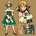 1girl akairiot animal_ears animal_print apron black_eyes black_footwear blonde_hair bottle brown_background brown_hair cow_ears cow_print cow_tail dress eyebrows_visible_through_hair frilled_dress frills gradient_hair green_dress hands_up highres holding holding_bottle looking_at_viewer multicolored_hair multiple_views one_eye_closed original shoes short_hair simple_background sitting smile tail