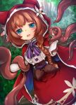 1girl animal_hood blue_eyes braid brown_hair cape forest frilled_skirt frills grimms_echoes highres hood hood_up hooded_cape little_red_riding_hood_(grimms_echoes) long_hair long_sleeves nature red_cape restrained shirt skirt tears tentacles touko_olivia tree white_shirt