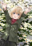 1girl arms_up bangs black_skirt blue_eyes blurry blurry_background bob_cut commentary daisy dappled_sunlight depth_of_field fang field flower flower_field from_above girls_und_panzer green_jacket highres insignia jacket katyusha_(girls_und_panzer) long_sleeves looking_at_viewer lying mexifime miniskirt on_back open_mouth pleated_skirt pravda_school_uniform red_shirt school_uniform shirt short_hair skirt smile solo sunlight turtleneck