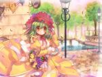 1girl alternate_color apple bangs basket blush bonnet bow bridge closed_mouth commentary_request cowboy_shot cross day dress eyebrows_visible_through_hair food fruit grapes green_hair hair_bow headdress high_priest_(ragnarok_online) hizukiryou holding holding_basket juliet_sleeves lamppost long_sleeves looking_at_viewer medium_hair outdoors puffy_sleeves ragnarok_online red_apple red_bow sash smile solo streamers tree two-tone_dress water white_dress white_sash wind yellow_dress yellow_eyes