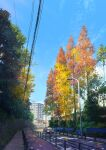 apartment autumn autumn_leaves blue_sky building bush car chain-link_fence city clouds commentary_request day fence ground_vehicle highres house japan lamppost leaf motor_vehicle niko_p no_humans original outdoors power_lines railing road scenery signature sky tree utility_pole window