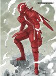 1boy absurdres armor character_name clouds cloudy_sky english_text gauntlets gloves greaves hard_translated helmet highres huge_filesize nihei_tsutomu ningyou_no_kuni official_art red_armor rock sky smoke standing third-party_edit