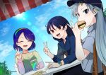 3girls absurdres black_camisole black_skirt blue_hair blue_shirt blue_sky bracelet burger camisole chair cup dress ear_piercing eyewear_on_head food french_fries glasses grey_eyes grey_hair grey_shirt hat highres himemushi_momoyo iizunamaru_megumu jewelry kaisenpurin lace_collar long_hair long_sleeves mullet multicolored multicolored_clothes multicolored_dress multicolored_hairband multiple_girls outdoors piercing rainbow_gradient red_eyes ring see-through shirt short_hair short_sleeves skirt sky smile smoothie tenkyuu_chimata touhou watch