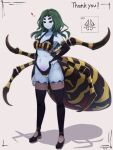 1girl arm_at_side arthropod_girl blue_skin breasts carapace colored_skin commentary_request commission extra_eyes full_body green_hair hand_on_hip heart highres medium_breasts monster_girl original pubic_tattoo shadow skeb_commission smile solo spider_girl standing tattoo thigh-highs yonaga