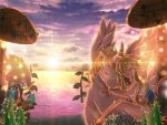 1girl bangs beach blonde_hair blue_flower bow bra closed_eyes closed_mouth clouds commentary_request cornus eyebrows_visible_through_hair feather_bra feet_out_of_frame flower grass hair_flower hair_ornament hizukiryou hug long_hair mushroom outdoors purple_sky ragnarok_online red_bow reflective_water scenery sitting smile sun sunset underwear wanderer_(ragnarok_online) water white_bra white_flower winged_unicorn