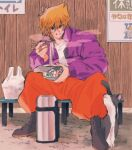 1boy bandaid bandaid_on_hand bangs bench blonde_hair blush bright_pupils cat chopsticks food hair_between_eyes highres holding holding_chopsticks jacket jounouchi_katsuya long_sleeves looking_at_viewer male_focus morijio_(pnpn_no_mm) noodles open_clothes open_jacket orange_pants purple_jacket short_hair sign sitting smile solo team white_pupils yu-gi-oh!