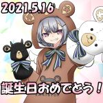 1girl animal_costume bear bear_costume black_bear bow bowtie cevio commentary cosplay dated grey_hair grin hand_puppet happy_birthday highres hood hood_up horns koharu_rikka lakiston lakiston_(cosplay) looking_at_viewer polar_bear puppet smile striped striped_bow striped_neckwear stuffed_animal stuffed_toy synthesizer_v teddy_bear upper_body violet_eyes whitecloudflow wings