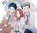 1girl 2boys akaashi_keiji black_hair blazer blush bokuto_koutarou bow bowtie brown_eyes coat collared_shirt eyebrows_visible_through_hair eyelashes fur_coat grey_hair grin haikyuu!! highres holding holding_umbrella jacket looking_away multiple_boys necking open_clothes open_coat open_mouth redhead ribbon school_uniform shirofuku_yukie shirt short_hair size_difference smile snow snowing striped striped_bow striped_neckwear teeth tongue umbrella white_shirt winter winter_clothes winter_coat yasai_(getsu) yellow_eyes
