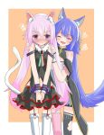 .live 2girls absurdres animal_ears blush breasts carro_pino cat_ears cat_tail closed_eyes commentary_request detached_sleeves fang highres long_hair multiple_girls navel open_mouth pink_hair purple_hair red_eyes rurun_rururica small_breasts tail tanabata_stew thigh-highs wolf_ears