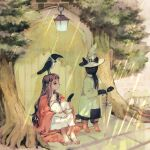 1girl animal animal_on_head bangs barefoot bird bird_on_head black_cat boots bow bowtie brown_hair cat clothed_animal crow door dress hands_together hat highres knees_to_chest knees_up lantern long_hair on_head original outdoors rt0no scarf shirt sitting solo tree umbrella