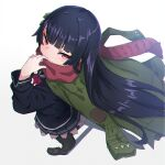 1girl bangs black_hair black_legwear black_sailor_collar black_serafuku black_shirt black_skirt blush brown_footwear commentary_request covered_mouth eyebrows_visible_through_hair from_above from_side full_body girls_frontline gradient gradient_background green_jacket grey_background hand_up highres jacket kuro_kosyou loafers long_hair long_sleeves looking_at_viewer looking_to_the_side looking_up pantyhose pink_eyes pleated_skirt red_scarf sailor_collar scarf school_uniform serafuku shadow shirt shoes skirt solo standing type_100_(girls_frontline) very_long_hair white_background