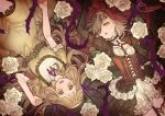 2girls bangs blonde_hair bloomers_(victorian) blunt_bangs briar_rose_(sinoalice) brown_eyes choker corset flower gothic_lolita hair_ribbon happy little_red_riding_hood_(sinoalice) lolita_fashion long_hair long_sleeves looking_at_viewer lying multiple_girls ojo_aa on_back open_mouth plant puffy_short_sleeves puffy_sleeves ribbon rose short_sleeves sidelocks signature sinoalice thorns veil victorian vines wavy_hair white_flower white_rose