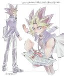 1boy blonde_hair card chain clenched_hand commentary_request duel_disk highres holding holding_card jacket long_sleeves lower_teeth male_focus morijio_(pnpn_no_mm) multicolored_hair multiple_views open_mouth pants shoes spiky_hair standing tongue translation_request yami_yuugi yu-gi-oh!