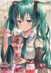 1girl alternate_nail_color aqua_eyes aqua_hair aqua_neckwear bare_shoulders berry black_sleeves blueberry blush character_name cherry commentary cup dessert detached_sleeves food fruit grey_shirt hair_ornament hatsune_miku headphones heart highres holding holding_cup holding_spoon ice_cream indoors korean_commentary long_hair macaron nail_polish necktie pink_nails pinky_out saya_(mychristian2) shirt shoulder_tattoo sleeveless sleeveless_shirt smile solo spoon strawberry sundae sweets tattoo tongue tongue_out twintails upper_body very_long_hair vocaloid