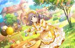 blush dress grey_hair idolmaster_cinderella_girls_starlight_stage long_hair sakakibara_satomi smile violet_eyes