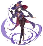 1girl absurdres black_legwear breasts cape choker full_body fur_trim genshin_impact gloves green_eyes hair_ornament half-closed_eyes hat high_heels highres legs long_sleeves looking_at_viewer mage magical_girl mona_megistus mxr pantyhose purple_hair simple_background solo twintails white_background witch_hat
