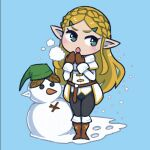 1girl akairiot black_legwear blonde_hair blue_background blue_eyes blush boots braid breath brown_footwear brown_mittens crown_braid long_hair long_sleeves no_nose open_mouth pointy_ears princess_zelda simple_background snow snowman solo the_legend_of_zelda the_legend_of_zelda:_breath_of_the_wild